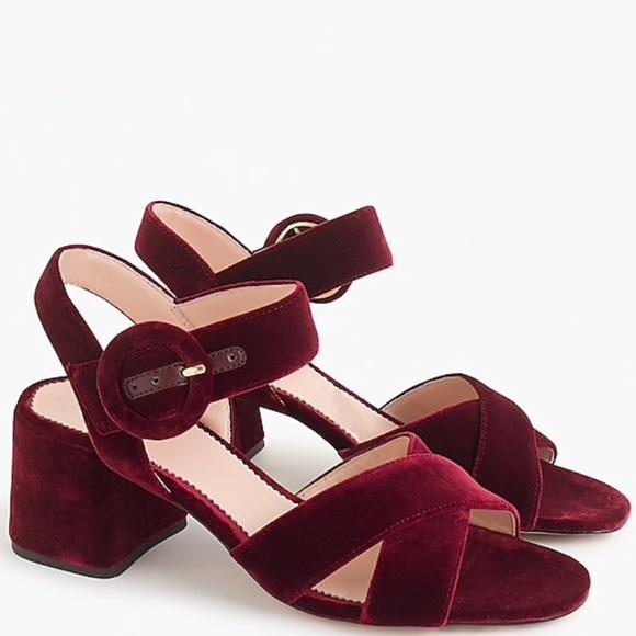 460834ee805 J. Crew Burgundy Velvet Penny Sandals
